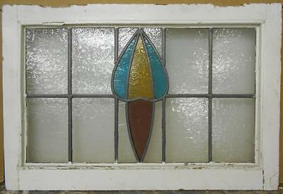 "MID SIZED OLD ENGLISH LEADED STAINED GLASS WINDOW Abstract Floral 25.25"" x 17"""