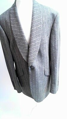 Bespoke HQ Grey Tweed Pinstripe Suit Jacket