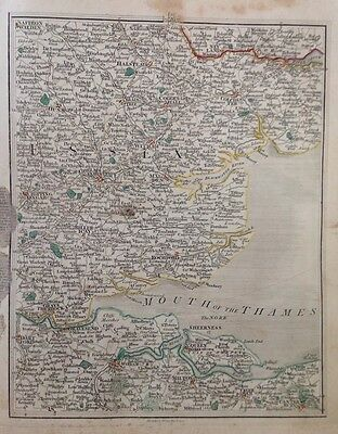 Antique Map 1794 Cary's Thames Estuary Essex Kent Colchester Chelmsford Dartford