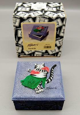 Rare B. Kliban Hula Cat Ceramic Trinket Box - New In Original Packaging