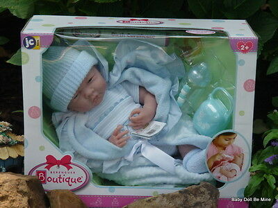 Berenguer *  18787 * La Newborn  15.5 Inch Doll * Blue Bunting 7 pc Gift Set