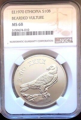 Ethiopia 1970 Silver 10 Birr Bearded Vulture Bird Conservation Wildlife NGC MS68