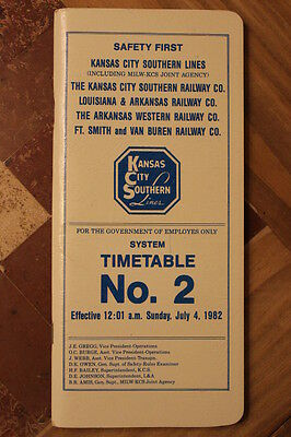 Kansas City Southern Railroad System Employee Timetable #2 July 4,1982-Mint