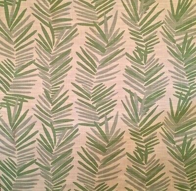 LULU DK Riviera Leaves Spring Green Cotton Linen Remnant New
