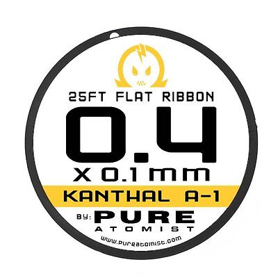 Pure Atomist 0.4 x 0.1 mm Flat Ribbon kanthal A1 Resistance Wire - 25' 50' 100'