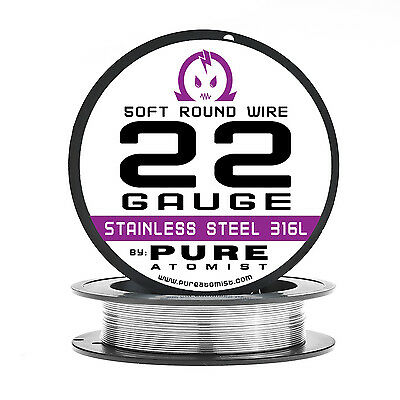 SS 316L - 22 Gauge AWG Stainless Steel 316L Wire 50 ft. Spool - 0.64mm 22g 50'