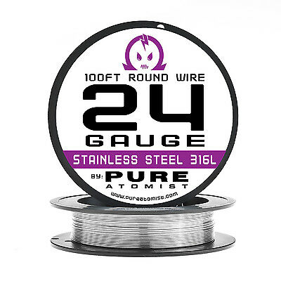 SS 316L - 24 Gauge AWG Stainless Steel 316L Wire 100 ft. Spool - 0.51mm 24g 100'