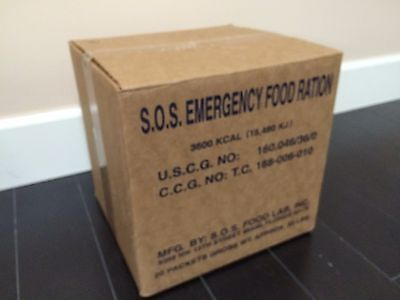 Case of 20 x 3600 Calorie SOS Emergency Food Ration Packs 4-5 Year Shelf Life