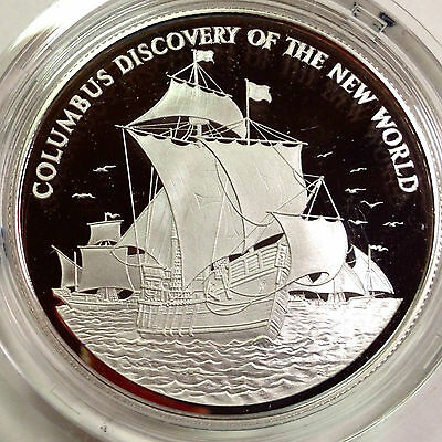 1989 Jamaica $10 Proof Sterling Silver Discovery Of The New World Crown