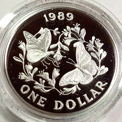 1989 Bermuda Sterling Silver Proof One Dollar Butterfly Crown Coin