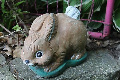 Vintage Weathered Concrete Cute Bunny Rabbit Statue