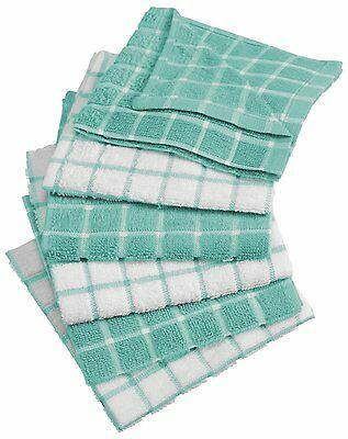 DII 100% Cotton, Machine Washable, Kitchen Dish Cloth Aqua [CAMZ33324] Set of 6