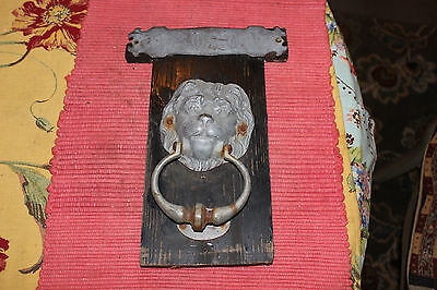 Vintage Lion Head Door Knocker Mounted On Wood-Metal Lion Head Knocker-LQQK