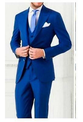 Royal Blue Groom Best Man Wedding Tuxedos Custom Made 3 piece Men's Formal Suits