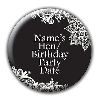 Personalised Hen Do Party Birthday Badge / stickers / labels - black lace - name