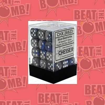 D6 Dice Gemini 12mm Blue-steel/white (36 Dice In Display)  - BRAND NEW