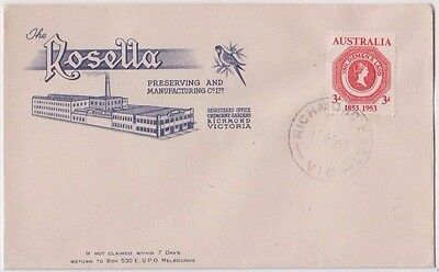 Stamp Australia 1953 centenary 1st Tasmania issue on Rosella cover first day