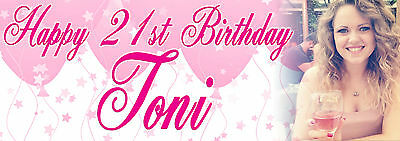 Personalised Gloss Photo Party Banner Birthday pink blue multicoloured banners