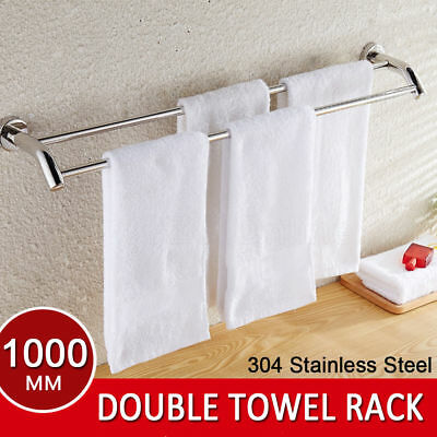 Bathroom Double Towel Rail Rack Holder 2 Bar 1000mm Hanger 304 Stainless Steel