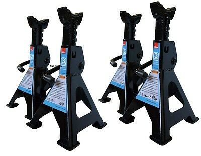 Heavy Duty X4 Hilka 3 Ton Tonne Ratchet Action Axle Stand Stands 3Yr Warranty