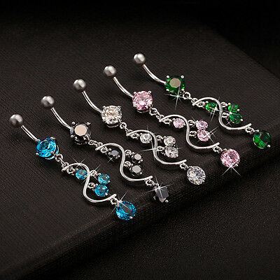 Navel Belly Bar Crystal Dangly Body Piercing Belly Button Ring S Round Tassel