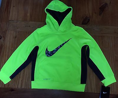 NWT Nike Bright Yellow Neon Hoodie Pullover Size 7 Kids