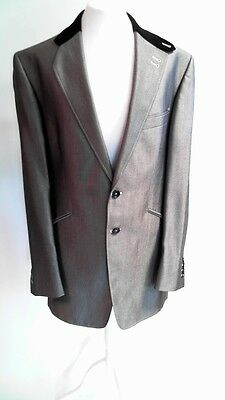 """Bespoke HQ Suit Jacket Grey Silver with Black Collar 42"""" Chest #US8"""