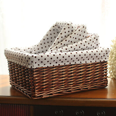 Wicker Willow Weave Woven Storage Basket Box Tubs Hamper With Lining Four Sizes