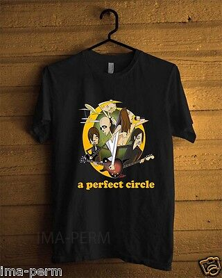a PERFECT CIRCLE Rock Band Personels Cartoon Black T-shirt for Man Size S-2XL
