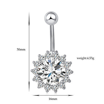 Navel Belly Bar Crystal Dangly Body Piercing Belly Button Ring Big Round Stone