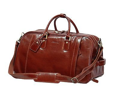 Exclusive Wheeled LEATHER Holdall Duffle Gym Carry on Travel  Weekend BAG Cognac