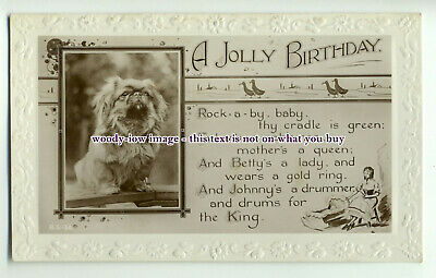 an0189 - Bordered Birthday Greeting and Poem, with Pekingese inset  - postcard