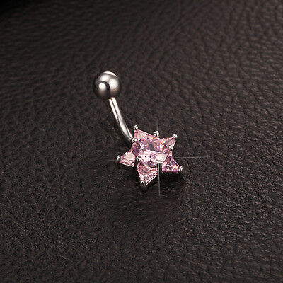 Body Piercing Surgical Steel Belly Bars Navel Button Ring Crystal Silver Star