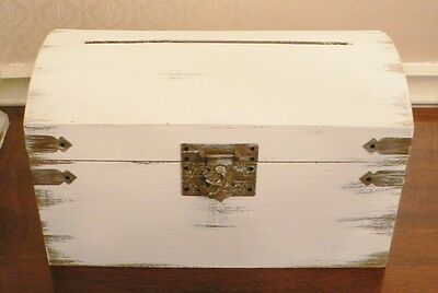Shabby Chic Whitewash Wedding Card Box Advice box Treasure Chest Style Shower
