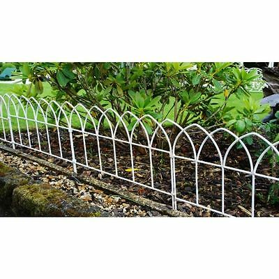 White Lawn Edging Arch Design Wrought Iron - Solid In 615mm Lengths
