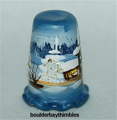 HAND PAINTED GLASS THURINGEN  THÜRINGEN Thimble STUNNING WINTER SCENE, GERMANY