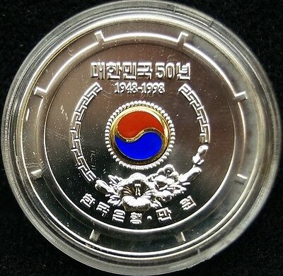 1998 The 50th Anniversary Republic of Korea, 10000 Won KM84 Sterling Silver Coin