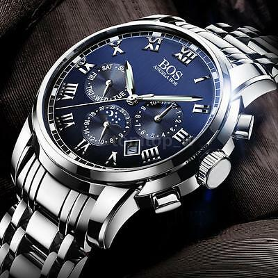 Angela BOS Men's Quartz Analog Wrist Watch Date Chronograph Stainless Steel +Box