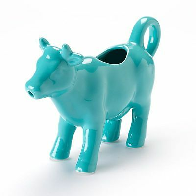 Brand New Food Network Turquoise Cow Creamer Stoneware Cute!