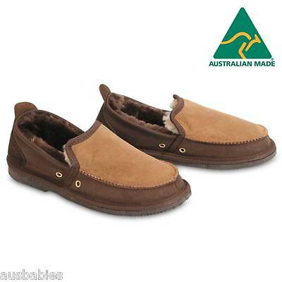Sheepskin Men's Loafers Slippers Chestnut Brown Mens Size 9/Womens 11 Sole 31cm