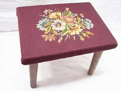 Early Mortised Leg Foot Stool Butcher Block Top w/Cross Stitch Needlepoint Cover
