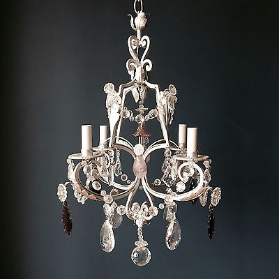 4 Light Iron Chandelier with Rock Crystal