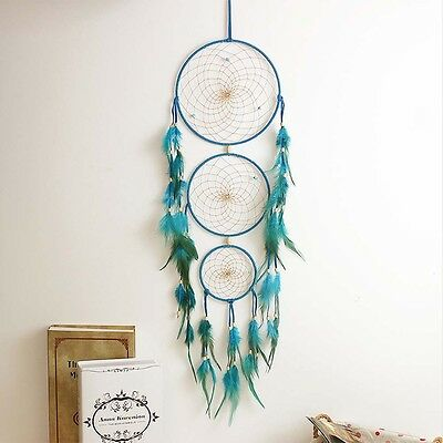 """27"""" Handmade Dream Catcher with Feather Wall Hanging Decoration Ornament Blue"""
