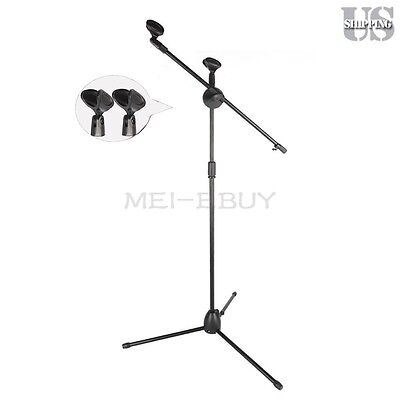Dual Mic Clip Microphone Stand 360 Rotating Telescoping Boom Arm Stage Tripod