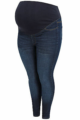 YoursClothing Plus Size Womens Bump It Up Maternity Denim Stretch Skinny Jeans