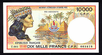 FRENCH PACIFIC TERRITORIES 10,000 Francs ND 1985  P. 4b UNC Note  T.001 003878