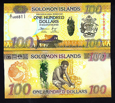 Solomon Islands 100 DOLLARS $100 ND 2013  First A/1  P.36  UNC Low Serial #