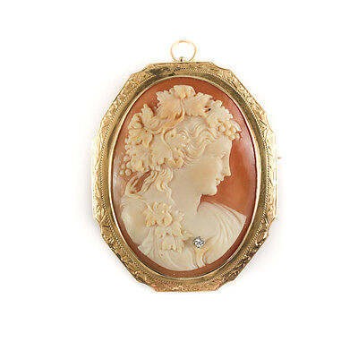 Victorian 14k Yellow Gold and Shell Diamond Cameo Pendent and/or Brooch, 19th C
