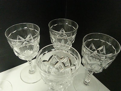 6 rare sublime Stuart crystal sherry glasses. c1926. Pristine clarity