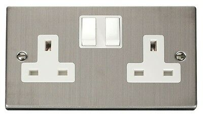 Click Deco 13A 2G DP Switched UK Socket 13 Amp 2 Gang Double Pole Twin Earthed